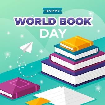 Día mundial del libro de estilo plano