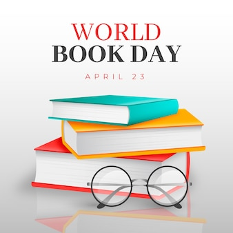 Día mundial del libro en estilo realista.