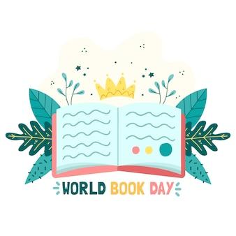 Día mundial del libro con hojas y libro