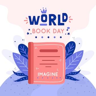 Día mundial del libro con hojas