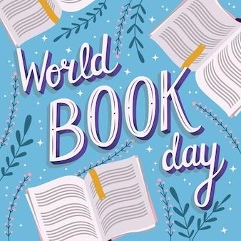 Día mundial del libro, letras a mano.