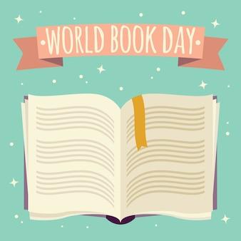 Día mundial del libro, libro abierto con banner festivo.