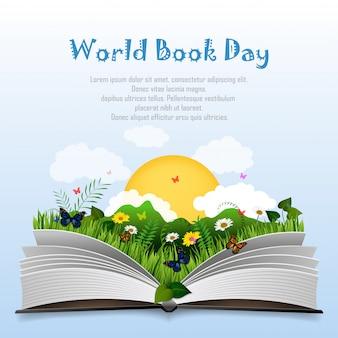 Día mundial del libro con libro abierto y hierba verde.