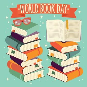 Día mundial del libro, libro abierto en la pila de libros con gafas sobre fondo de menta