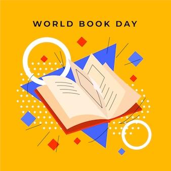 Día mundial del libro con libro y formas geométricas.
