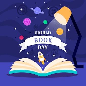 Día mundial del libro con libro y lámpara