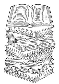 Día mundial del libro. libros abiertos en estilo mandala. doodle detallado para colorear para adultos