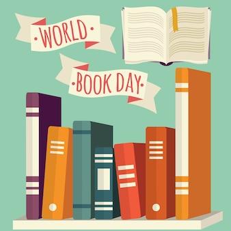 Día mundial del libro, libros en estantería con banner festivo.