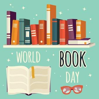 Día mundial del libro, libros en estantería y libro abierto con gafas.