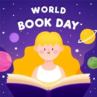 Día mundial del libro con mujer y lectura