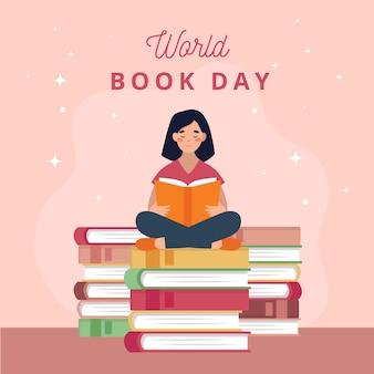Día mundial del libro con mujer leyendo