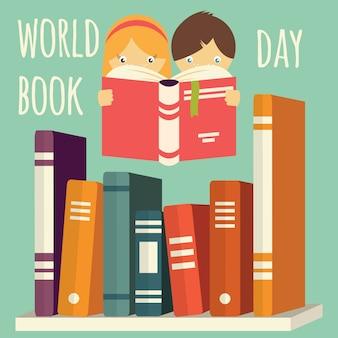 Día mundial del libro, niña y niño leyendo con una pila de libros en un estante