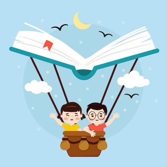 Día mundial del libro, niña y niño en un libro de globos aerostáticos