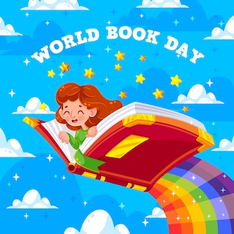 día mundial del libro y niña volando en arco iris