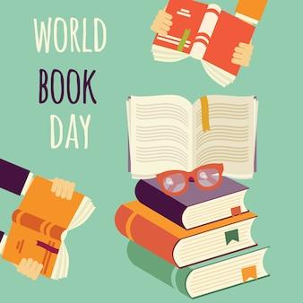 Día mundial del libro, pila de libros con manos y gafas.