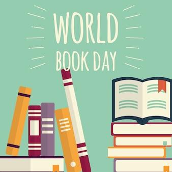 Día mundial del libro, pilas de libros sobre fondo de menta.