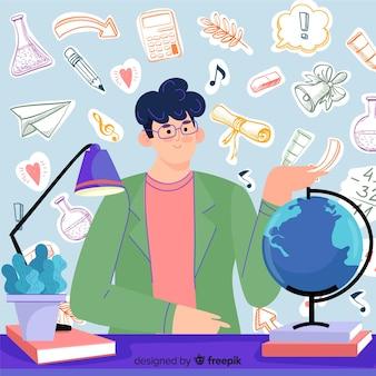 Día mundial del maestro dibujado a mano