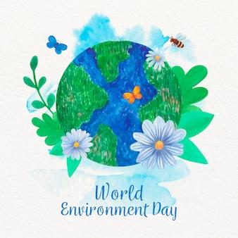 Día mundial del medio ambiente acuarela con globo