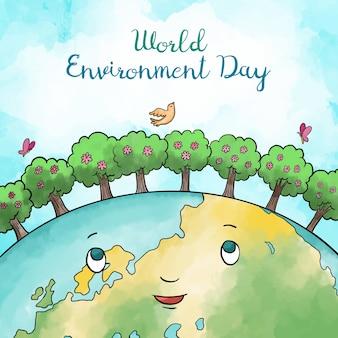 Día mundial del medio ambiente en acuarela