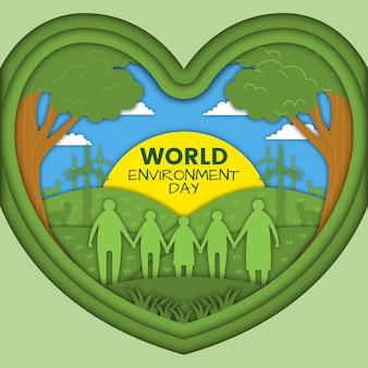Día mundial del medio ambiente en concepto de estilo de papel