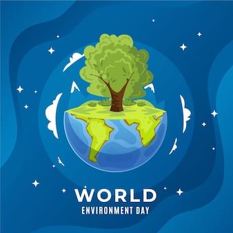 Día mundial del medio ambiente en diseño plano