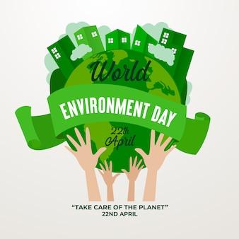 Día mundial del medio ambiente estilo plano