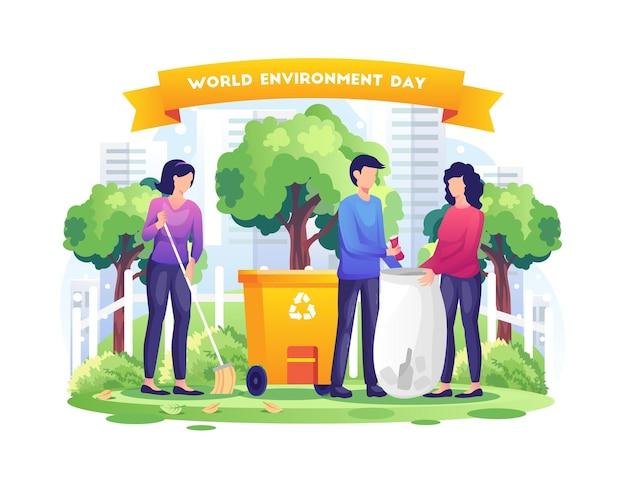 El día mundial del medio ambiente con la gente está limpiando la tierra salve la ilustración del planeta