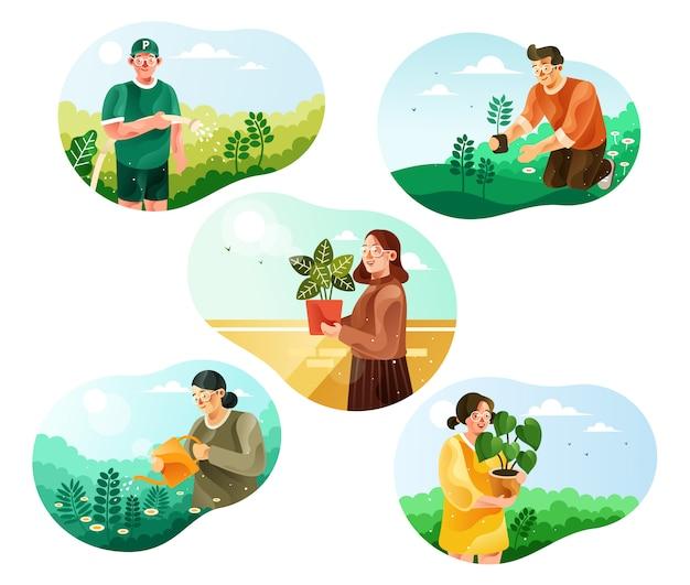 Día mundial del medio ambiente. ilustración de actividades ecológicas