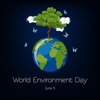 Día mundial del medio ambiente con ilustración del globo terráqueo y el árbol.