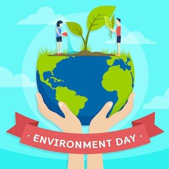 Día mundial del medio ambiente con manos sosteniendo planeta