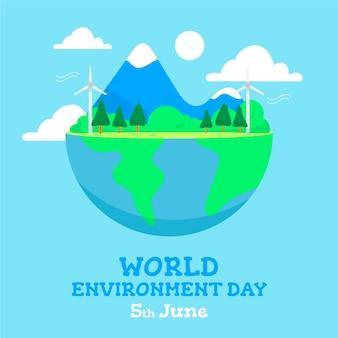 Día mundial del medio ambiente con medio planeta