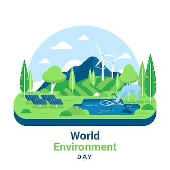 Día mundial del medio ambiente con paisaje