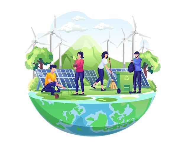 El día mundial del medio ambiente con las personas cuida de la tierra mediante la jardinería y la limpieza de la ilustración.