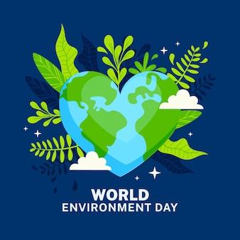 Día mundial del medio ambiente con planeta en forma de corazón