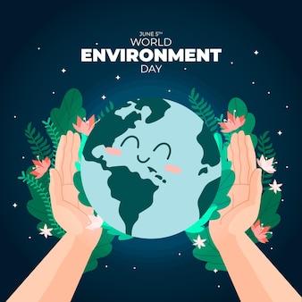 Día mundial del medio ambiente plano salva el planeta ilustración