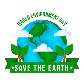 Día mundial del medio ambiente plano