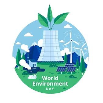 Día mundial del medio ambiente con planta de energía