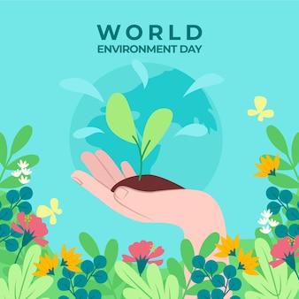 Día mundial del medio ambiente de plántulas