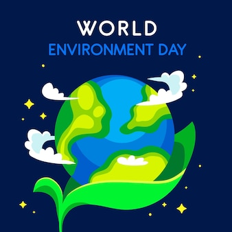 Día mundial del medio ambiente con plántulas