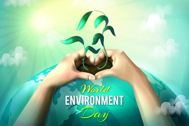 Día mundial del medio ambiente realista con manos sosteniendo planta