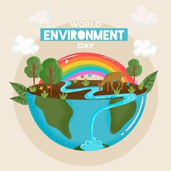Día mundial del medio ambiente con tierra y río