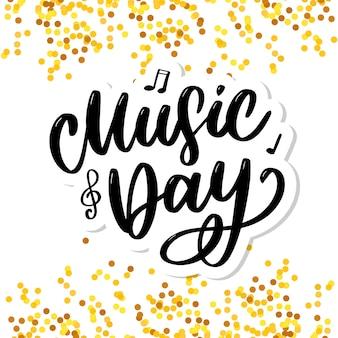 Día mundial de la música letras caligrafía pincel logo vacaciones