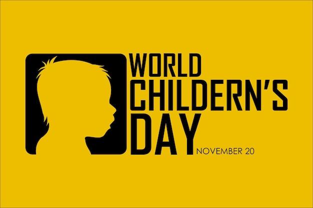Día mundial del niño 20 de noviembre con fondo amarillo