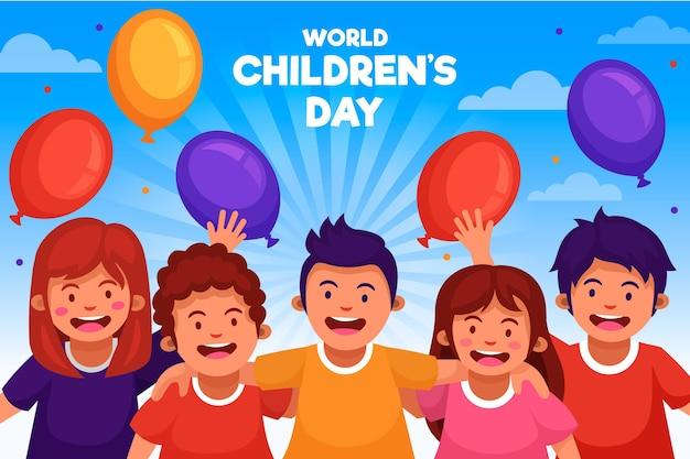 Día mundial del niño con globos de colores.