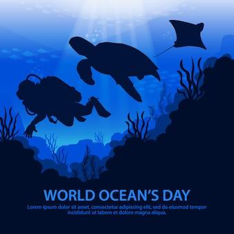 Día mundial del océano con tortugas, rayas y buzos