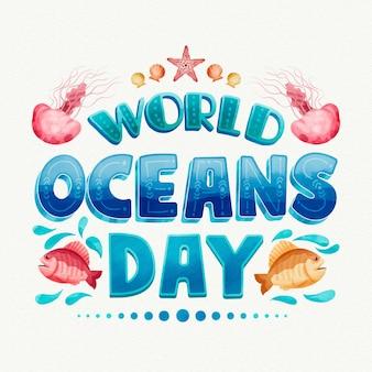 Día mundial de los océanos en acuarela