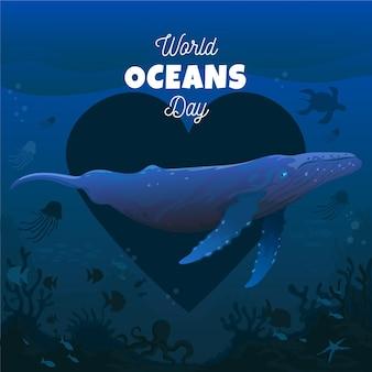 Día mundial de los océanos con ballena y corazón