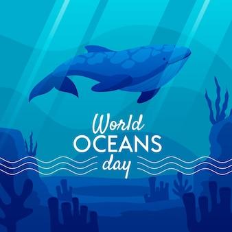 Día mundial de los océanos con ballenas bajo el agua