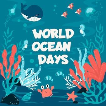 Día mundial de los océanos con ballenas y cangrejos