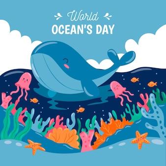 Día mundial de los océanos con ballenas y medusas